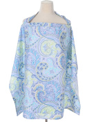 Aivtalk Baby Nursing Cover for Breastfeeding Natural Soft Breathable Cotton Scarf With Storage Pockets-Blue Seattle