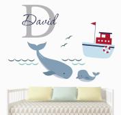 Custom Boy Name Nautical Wall Decal - Nursery Room Wall Decor - Nautical Nursery Wall Decals - Vinyl Art Decor For Kids Room