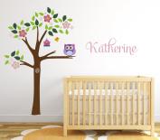 Tree with Owl Wall Decal - Custom Girl Name Wall Decal - Baby Room Wall Decor - Nursery Vinyl Art Decor For Kids Room
