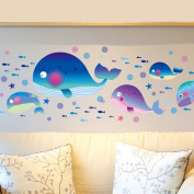 Large Whales Fishes Sea Bubbles Wall Decal Home Sticker PVC Murals Vinyl Paper House Decoration Wallpaper Living Room Bedroom Kitchen Art Picture DIY for Children Teen Senior Adult Nursery Baby