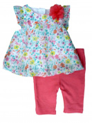 Little Wonders Infant Girls Floral Chiffon Shirt & Leggings 2 Piece Set Newborn