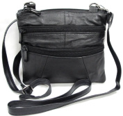 Improving Lifestyles® Leather Crossbody Bag Black Strap Organza Gift Bag ELIL 1005 BK