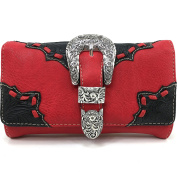 Justin West Rhinestone Buckle Solid Leather Wristlet Trifold Wallet Attachable Long Strap