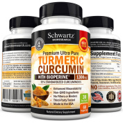 Turmeric Curcumin with Bioperine® 1300mg. No Fillers, No Binders & Non-GMO. Gluten Free Turmeric Supplement with Black Pepper. 95% Standardised Curcuminoids Extra Strength Tumeric Capsules Made in USA