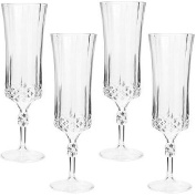 Plastic Stemware Champagne Glasses 4 Count Looks Like Real Crystal Parties Catering Special Occasions Pa-03