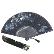 "OMyTea 8.27""(21cm) Women Hand Held Silk Folding Fans with Bamboo Frame - With a Fabric Sleeve for Protection for Gifts - Chinese / Japanese Style Butterflies and Morning Glory Flowers Pattern"