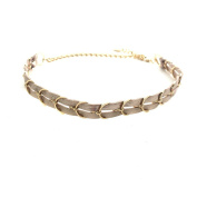 Ettika Metallic Gold Tone Choker Braided Necklace