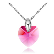 White Gold Plated Heart Shaped Cut AAA. Elements Hot Pink Austrian Crystal Pendant Necklace Fashion Jewellery for Women