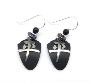 ADAJIO by Sienna Sky Silver Chinese Peace Character Black Shield Earrings 7064