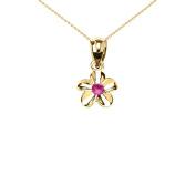 Delicate 10k Yellow Gold Hawaiian Plumeria Pinkish Red CZ Charm Pendant Necklace
