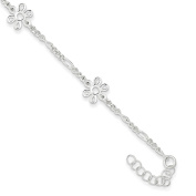 ".925 Sterling Silver 2.00MM Polished Flower Anklet Bracelet With 1"" Extender, 9 Inches"