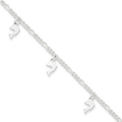 """.925 Sterling Silver 2.00MM Polished and Textured Dolphin Anklet Bracelet With 1"""" Extender, 9 Inches"""