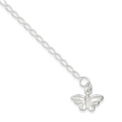 .925 Sterling Silver 3.00MM Polished Butterfly Anklet Bracelet, 10 Inches