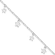".925 Sterling Silver 1.50MM Polished Star Anklet Bracelet With 1"" Extender, 9 Inches"