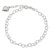 .925 Sterling Silver 5.00MM Puffed Heart Anklet Bracelet, 9 Inches