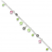 .925 Sterling Silver 1.00MM Pink Crystal/Green Quartz & Peridot Bead Ankle Bracelet, 9 Inches