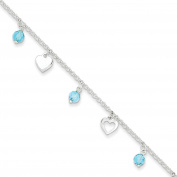 ".925 Sterling Silver 1.50MM Polished Heart and Blue Glass Anklet Bracelet With 1"" Extender, 9 Inches"