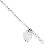 """.925 Sterling Silver 1.50MM Polished Bead and Heart Anklet Bracelet With 1"""" Extender, 9 Inches"""