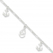 """.925 Sterling Silver 2.00MM Polished Boat and Anchor Anklet Bracelet With 1"""" Extender, 9 Inches"""