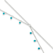 .925 Sterling Silver 1.00MM Turquoise Double Link Anklet Bracelet , 10 Inches