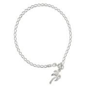 .925 Sterling Silver 3.00MM Polished Palm Tree Anklet Bracelet, Available in 9 & 10 Inches