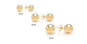 14KT Gold Ball Stud Earrings 3 Pairs Set 4m 5m 6m