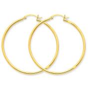 14K Yellow Gold 42mmx2mm Lightweight Classic Round Hoop Earrings