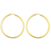 14K Yellow Gold 33mm x 2mm Round Endless Hoop Earrings