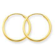 14K Yellow Gold 14mm x 1.25mm Round Endless Hoop Earrings