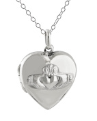 Sterling Silver Heart Shaped Irish Claddagh Locket Necklace, 46cm Chain