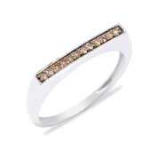 Sterling Silver 0.10cttw Brown Diamond Flat Top Stack Band Ring