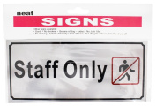 20cm X 8.9cm Staff Only Sign In Brushed Aluminium With Acrylic Paint :