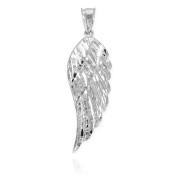Textured 925 Sterling Silver Angel Wing Pendant, 5.8cm