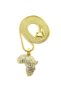 "Women's Micro Rhinestone Africa Map Pendant 2mm 18"" Box Chain Necklace Gold-Tone"