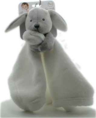 Blankets and Beyond Grey & White Bunny Baby Security Blanket Plush
