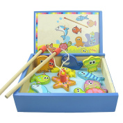 XDOBO High-grade Wooden Smile Fishing Toy Set Swimming Fish Magnetic Toys with Wooden Storage Box Learning & Educational Puzzle Game for Baby Children