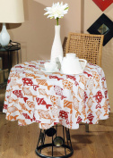 Indian Printed Table Cloth For Round Table -100% Cotton Fish Print Round Tablecloth Orange Red -140cm