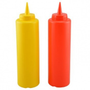 2-Pack 470ml KETCHUP & MUSTARD PLASTIC SQUEEZE CONDIMENT BOTTLE W/ LIDS for BBQ, KITCHEN, PICNIC Red and Yellow