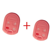 2Pcs Smart Remote Key Jacket Skin Protector Cover for Ford Focus Flex Taurus Expedition F150 F250-350 Super Duty Mustang Edge Explorer New Pink Silicone Skin Protector Fob