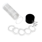 Black Lid Capsule Tube & 20 Air-Tite 19mm White Ring Coin Holders for US Cents