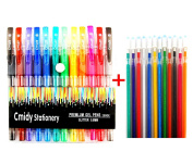 Glitter Gel Pens Set of 12 Prime Colour Art Gel Pens with Bonus 12 Gel Ink Refills Professional Artist Premium Quality Assorted Coloured Pens Comfort Grip for Adults and Kids Colouring Drawing Book Gift
