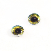 8mm Glass Eyes in Blue and Yellow Pair of Human Crafting Supply Flatback Cabochons for Doll Taxidermy or Jewellery Making