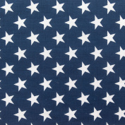 Stars on Navy Poly Cotton 150cm Fabric By the Yard