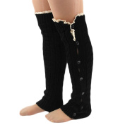 HuntGold 1 Pair Women Europe Knitting Twisted Lace Crochet Buttons Leg Warmer Foot Knee Socks
