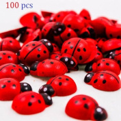 BeautyMood 100Pcs Painted Wooden Ladybug/Self Adhesive/Craft/Decorations/Home Decor/Plants 10x13mm
