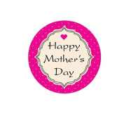 Happy Mother's Day 2.5cm - 1.3cm Round Labels - 30 Stickers Per Sheet