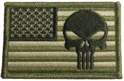 Tactical USA Flag with Punisher Patch 5.1cm x 7.6cm hook and loop Backing - Multitan - By Ranger Return