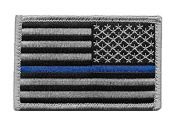 Reversed US Flag Thin Blue Line hook and loop Patch for Police and Law Enforcement