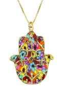 Gold Hamsa Necklace with Fleur de Lis Pendant - Blue Jewellery - Handmade Polymer Clay Israeli Gift Ideas