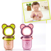 Baby Silicone Fresh Food Feeder with M+L Silicone Teat,Food scissors and Chain Holder